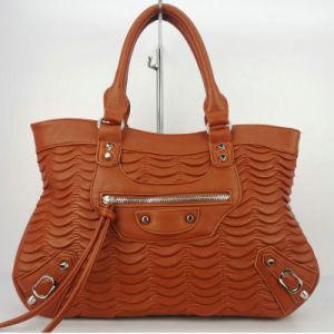 Brown Wrinkled PU Tote Bag