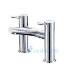Stainless Steel Bath Shower Double Handle Deck Mounted Tub Tap pictures & photos