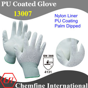 13G White Nylon Knitted Glove with White PU Smooth Coating/ En388: 4131 pictures & photos