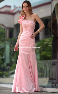 One Shoulder Ladies Long Dress with Beading Evening Dress