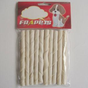 "Dog Chews 5""X8-9mm White Bleached Twist Stick Pet Food"