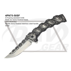 "4.8"" Closed Spring Assistant Pocket Knife with Stone Finished pictures & photos"