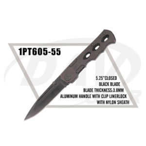 """5.25""""Closed Alum Handle Pocket Knife with Black Blade (1PT605-55) pictures & photos"""