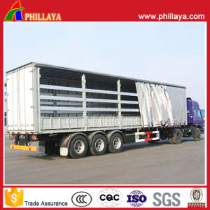 3 Axles Wing Open Van Curtain Side Semi Trailer pictures & photos