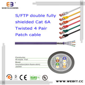 S/FTP Double Fully Shielded Cat 6A Twisted 4 Pair Patch Cable pictures & photos