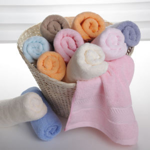 100%Cotton Solid Color Towel Set with Dobby Border (6148-4, 6248-4, 6348-4)