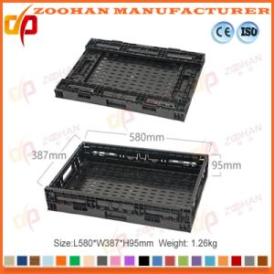 New Turnover Basket Folded Plastic Storage Container for Supermarket (ZHTB23) pictures & photos