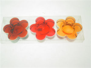 Clear Flower-Shaped Glass Tealight Holder Wtih PVC Box for Autumn (DGH8.6-8-3) pictures & photos