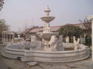 White Marble Stone Garden Water Fountain with Ladies and Lions pictures & photos