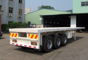 40 Feet 3 Axles Twin Tyre Flatbed Semi Trailer pictures & photos
