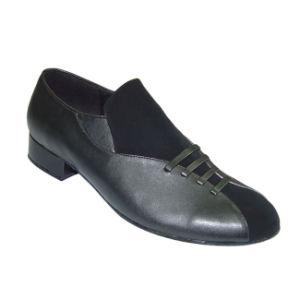 Black Leather&Nubuck Men′s Ballroom Dance Shoes pictures & photos