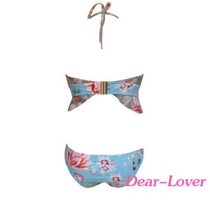 Floral Print Bonded Frill Bikini Swimsuit pictures & photos