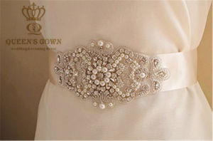 Short Paragraph Wedding Dress Handmade Beaded Rhinestone Belt pictures & photos