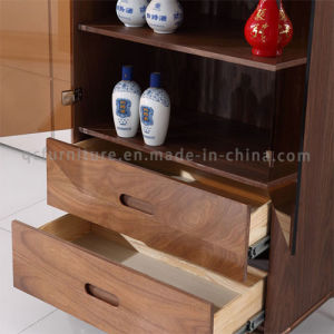 Wooden Wine Cabinet with Golden Stainless Steel Frame pictures & photos