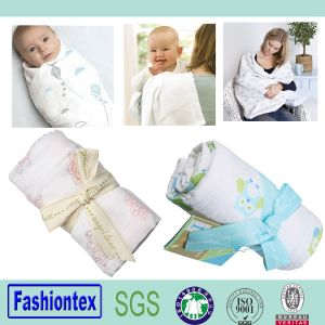 Baby Muslin Blanket Swaddle Wrap Gots Certified Fabric pictures & photos
