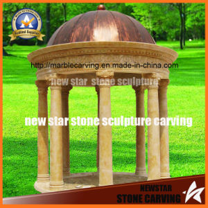 Brozen Cover Yellow Stone Carving Gazebo Ng-015 pictures & photos