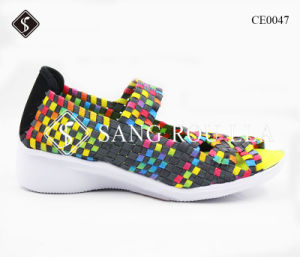 Casual Wedge Heel Women Weave Sneaker Shoes pictures & photos