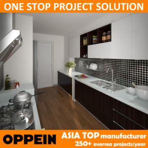 Oppein Asia Project Brown HPL Aisle Wood Kitchen Cabinets (OP15-HPL02) pictures & photos