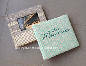 High Quality Embroidery Fabric Photo Album Printed Paper Photo Album with Window pictures & photos