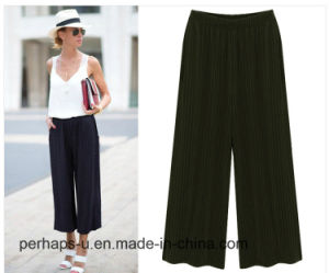 Ladies′striped Chiffon Casual Loose Wide Leg Pants pictures & photos