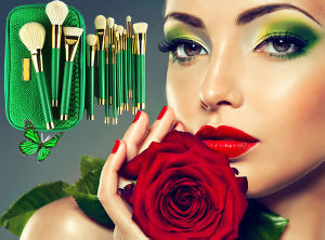 15 PCS Professional Elegant Goat Hair Makeup Brush Set