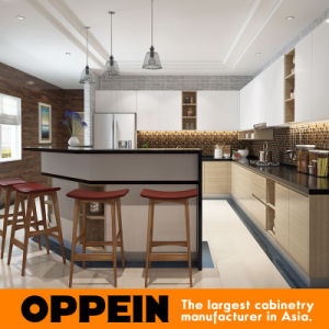 OPPEIN L-shaped Melamine Wooden Kitchen Cabinets with Corner Island (OP16-M04) pictures & photos