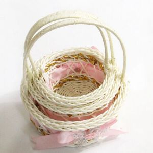 3PCS/Set PU Material Pink Braided Storage Baskets/Gift Basket pictures & photos