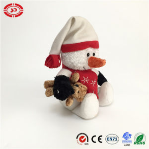 Snowman Hug Brown Bear Cute Xmas Plush Holiday Kids Toy pictures & photos