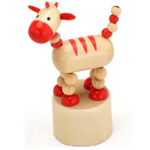 2015 Brand New Wooden Animal Toy with Spring, Wooden Animal Spring Toy for Children, Pretend Play Wooden Animal Toy Game W06D078 pictures & photos