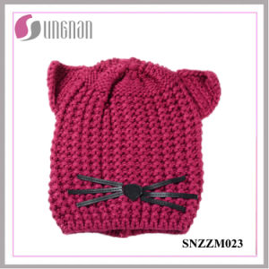 High Quality Warm Creative Cat Ear Hat Wool Knitted Helmet (SNZZM023) pictures & photos