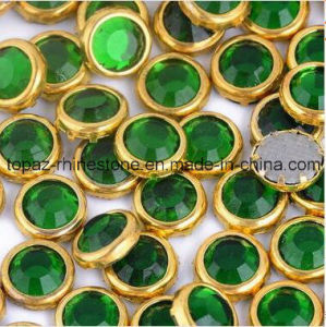 Ss6 Ss10 Ss16 Ss20 Gold Claw Ring Hot Fix Rhinestone (emerald green/A Grade) pictures & photos