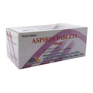 Aspirin Tablets, 300mg, 10X10′s/Box, Western Medicine pictures & photos