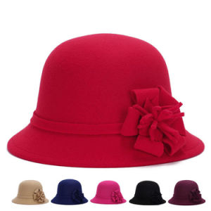 Fashion Women Flower Cotton Polyester Knitted Winter Bucket Hat (YKY3246) pictures & photos