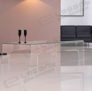Modern Curved Glass Coffee Table with Green Painting pictures & photos