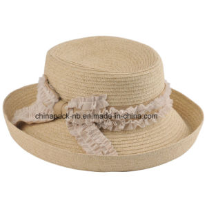Paper Braid Bowler Hats with Decorate for Lady (CPA_13029) pictures & photos