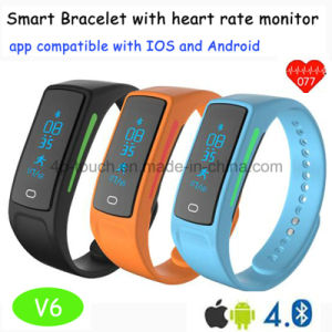 New Developed Smart Bluetooth Wristband/Bracelet with Heart Rate Monitor V6 pictures & photos