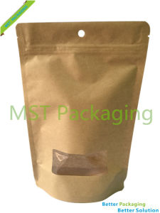 Kraft Paper Stand up Gusset Pouch with Valve / Coffee Bag pictures & photos