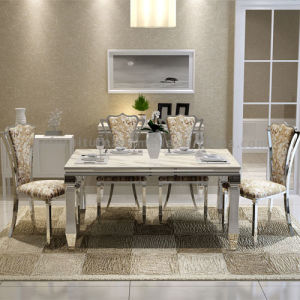 Dining Room Modern Marble Top Metal Legs Popular Table and Chair pictures & photos