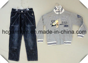 Sports Wear Kids Wear Jeans Hoodie Suit for Boy pictures & photos