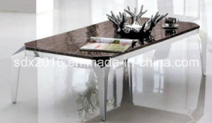 Modern Rectangle 1.3 Meter Glass Marble Stainless Steel Coffee Table pictures & photos