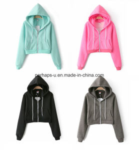 High Quality Women Long Sleeve Casual Short Hoodies Ladies Wear pictures & photos