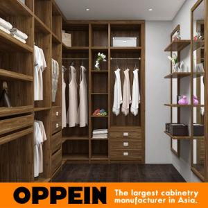 Oppein Modern Melamine Wood Walk-in Closet Wardrobe with Mirror (YG16-M07) pictures & photos