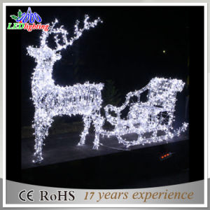 2016 New Design Christmas 3d Reindeer Sleigh Motif Light