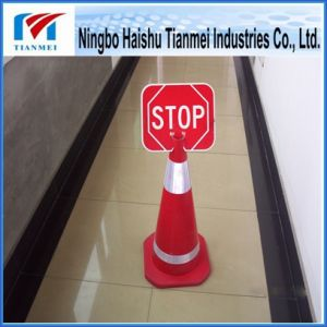 Small Size Reflective Stripe Traffic Cone with Stop Sign pictures & photos