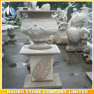 Stone Garden Flower Pot with Bas Relief pictures & photos
