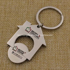 Custom Printing Logo House Shaped Coin Holder Keychain pictures & photos