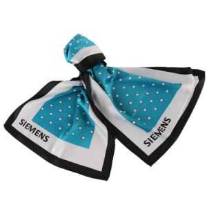 100% Silk Printed Logo Scarf Top Fashion Stylish Blue Polka Dots Uniform Scarf pictures & photos