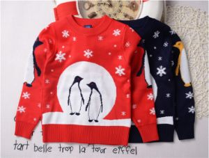 T1205 Wholesale Spring Autumn Girl T-Shirt Cotton Knitted Thicken Penguin Pullover Baby Girl Clothing Children Long Sleeved Bottoming Shirt pictures & photos