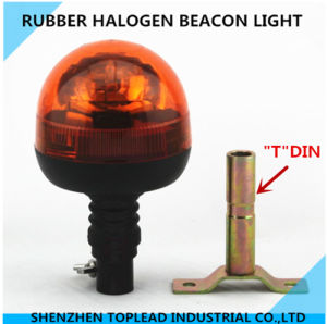 Amber DIN Mount Halogen Rotating Warning, Rubber Beacon Light
