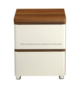 Modern Wooden Walnut & White Nightstand (B1032-A)